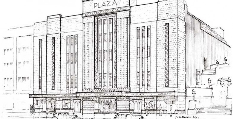 Pencilled Image of The Plaza Super Cinema and Variety Theatre as detailed on opening brochure - October 7th 1932