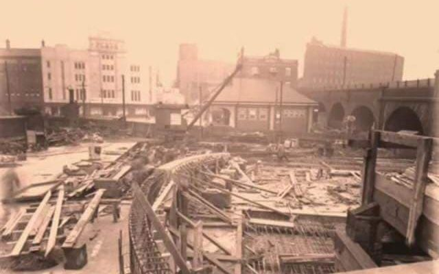 The River Mersey coverage works taking place and the creation of 'The Bear Pit' opposite The Plaza