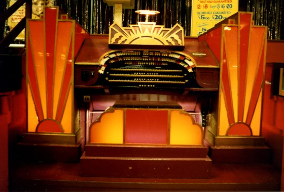 The Mighty Compton Organ during her Bingo Years following damage to her glass panels which were replaced with orange and red perspex.
